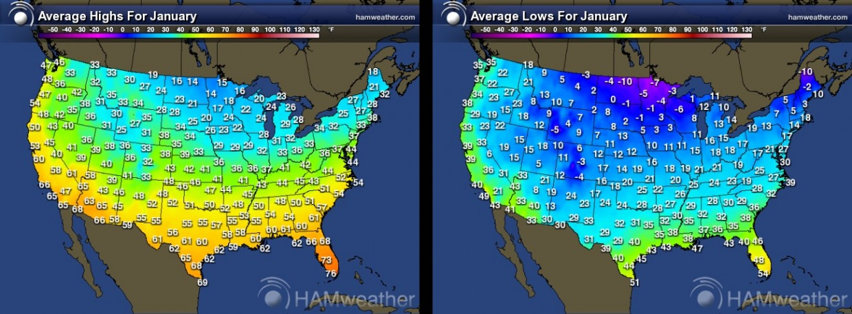 Normal highs and lows in January across the U.S.