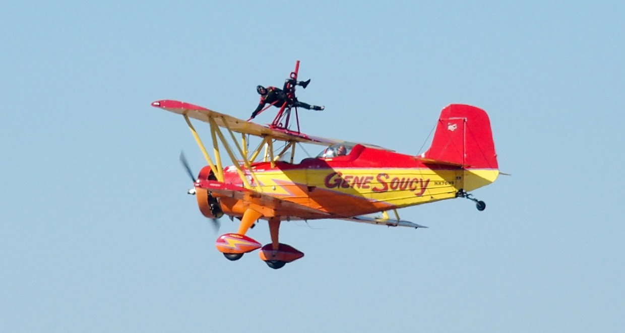 Wing walker Teresa Stokes and pilot Gene Soucy