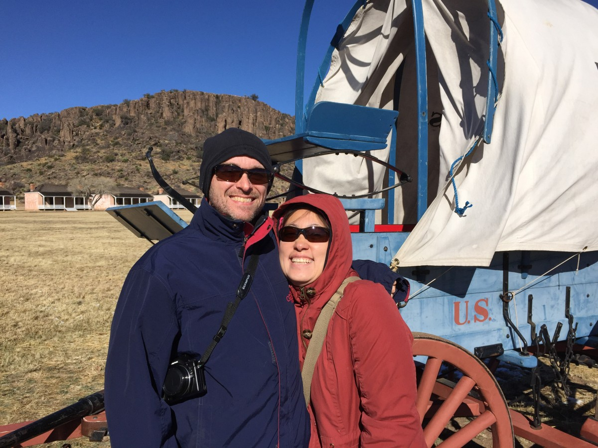 Visiting historic Fort Davis on a cold and windy day.