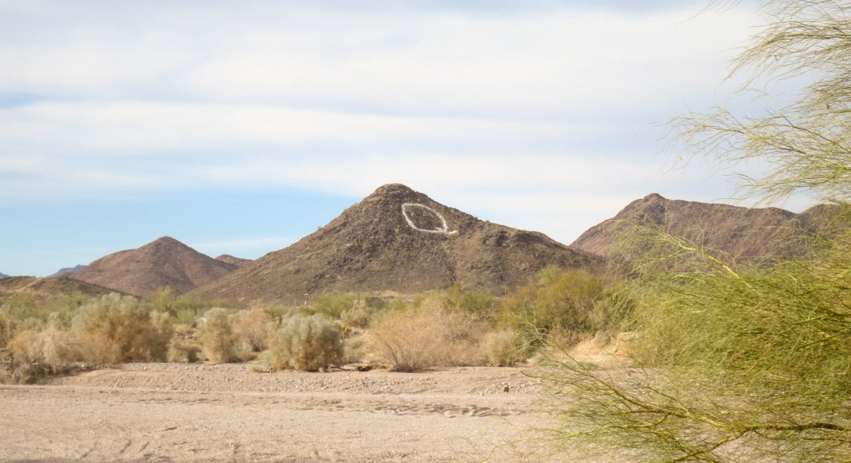 "You know you've found Quartzsite when you spot the big ""Q""."