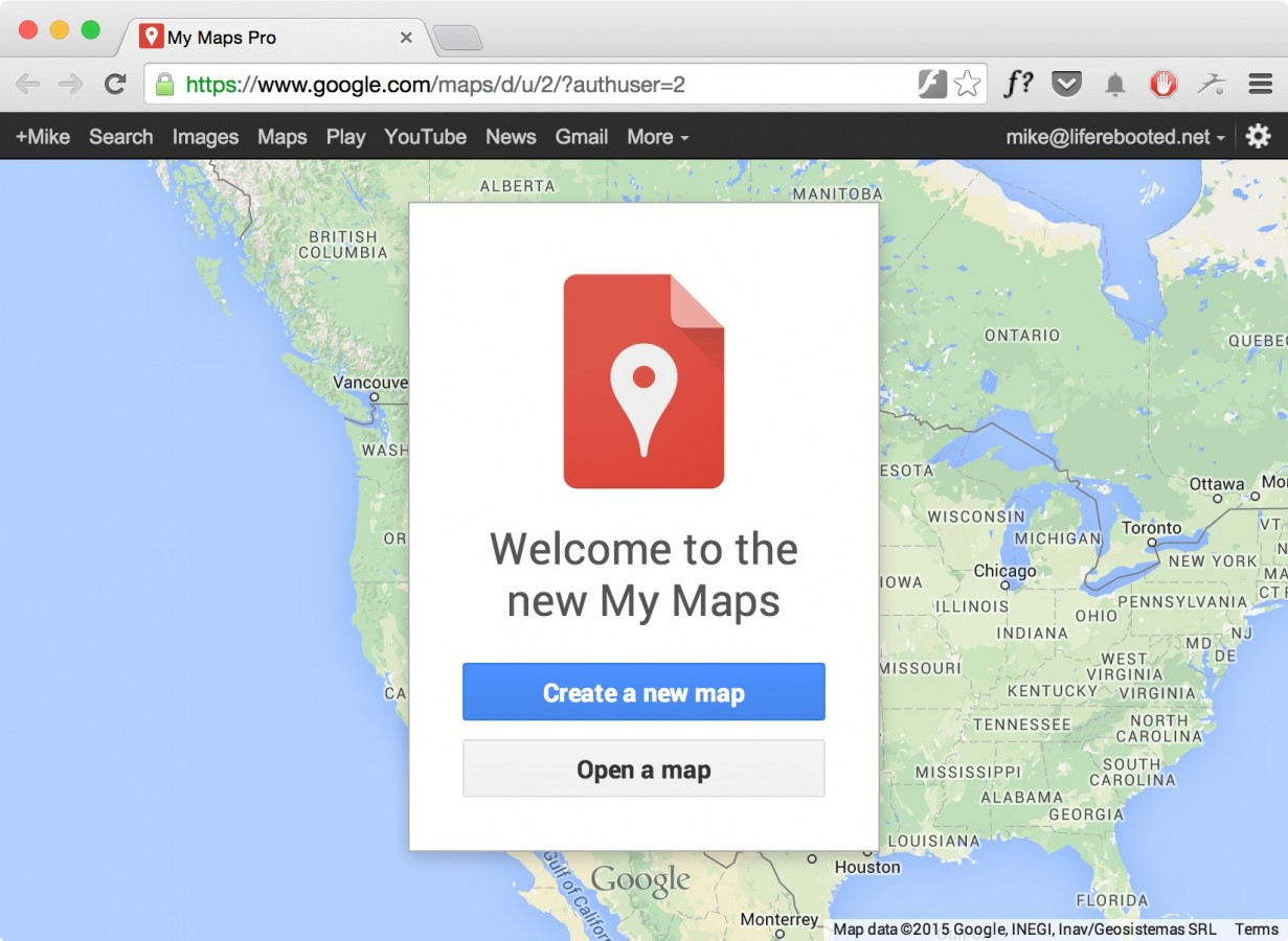 Figure 11 -- Creating a new Google custom map
