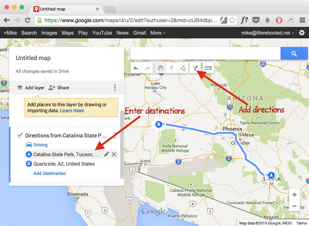 Figure 12 -- adding directions to the Google map