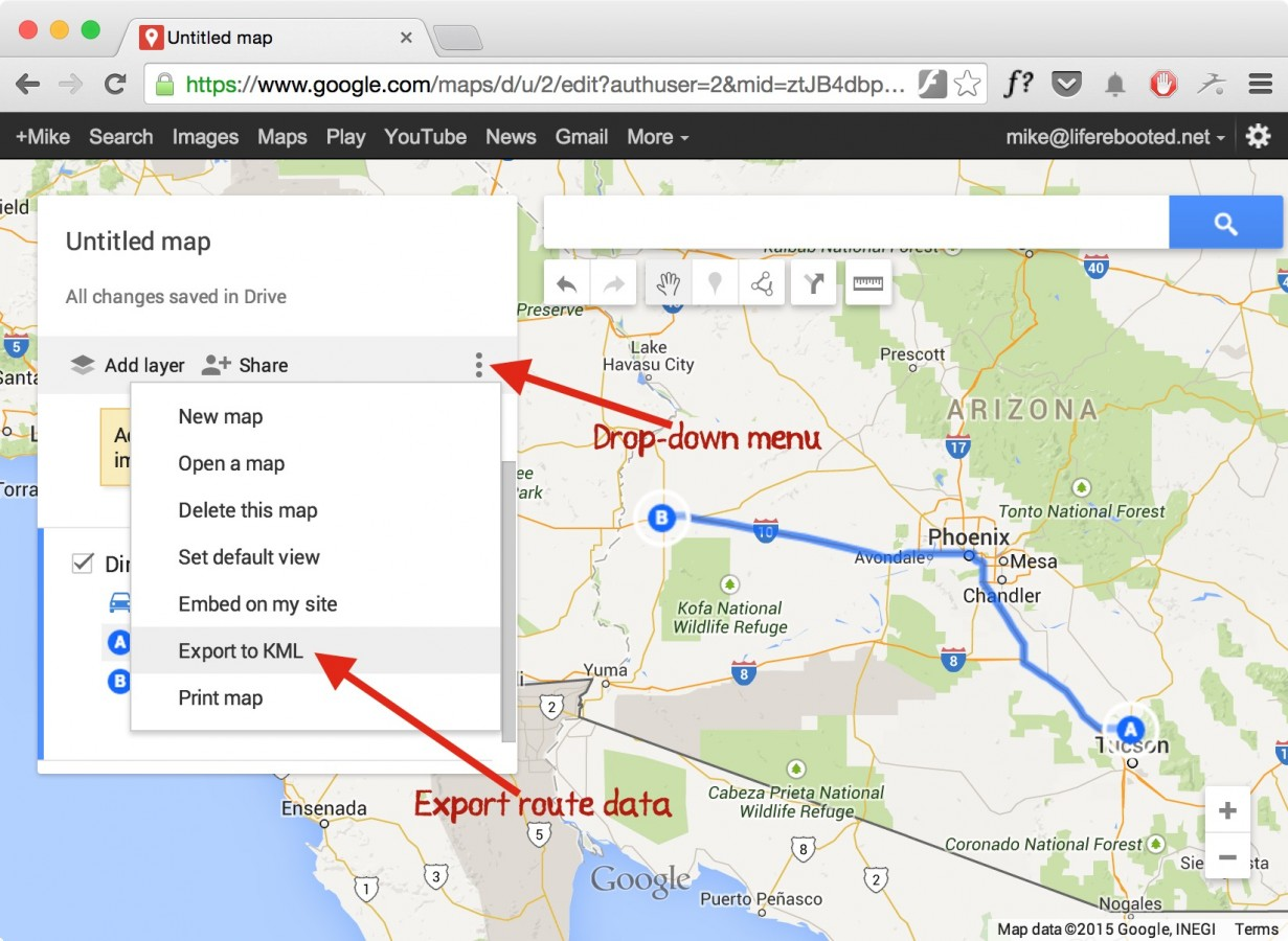 Figure 13 -- exporting route data from Google maps