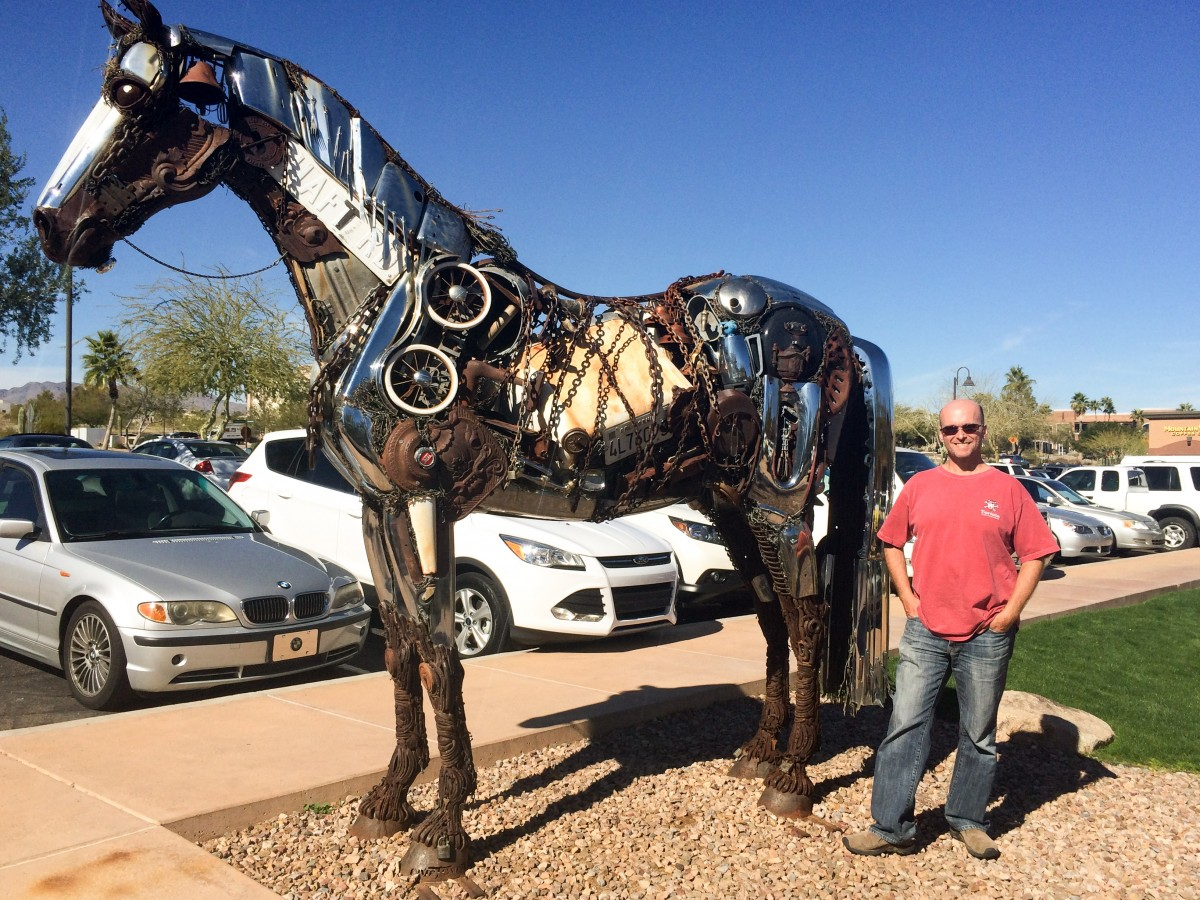 This impressive 5,000 lb. horse in Fountain Hills is made of scraps from a junk yard.