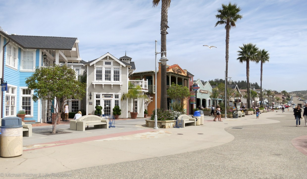 The cute waterfront shops along Avila Beach.
