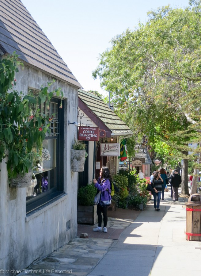 Checking out the quaint shops in Carmel.