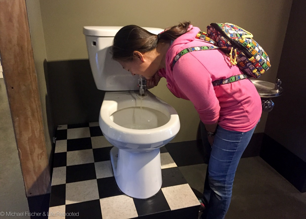 This water fountain at the Exploratorium takes some getting used to!