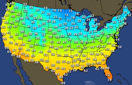 Life Rebooted  Maps For RVers - Us average winter temperature map