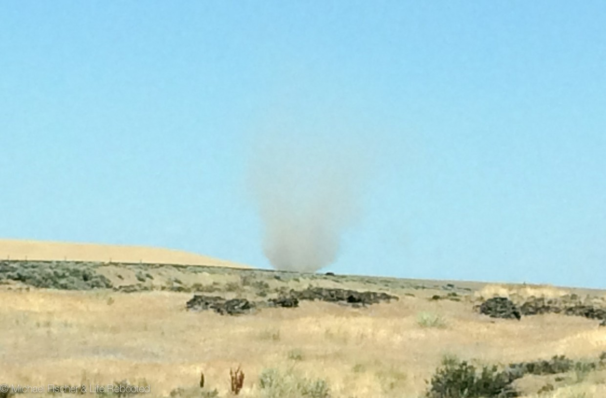 A dust devil not far off the highway near Spokane