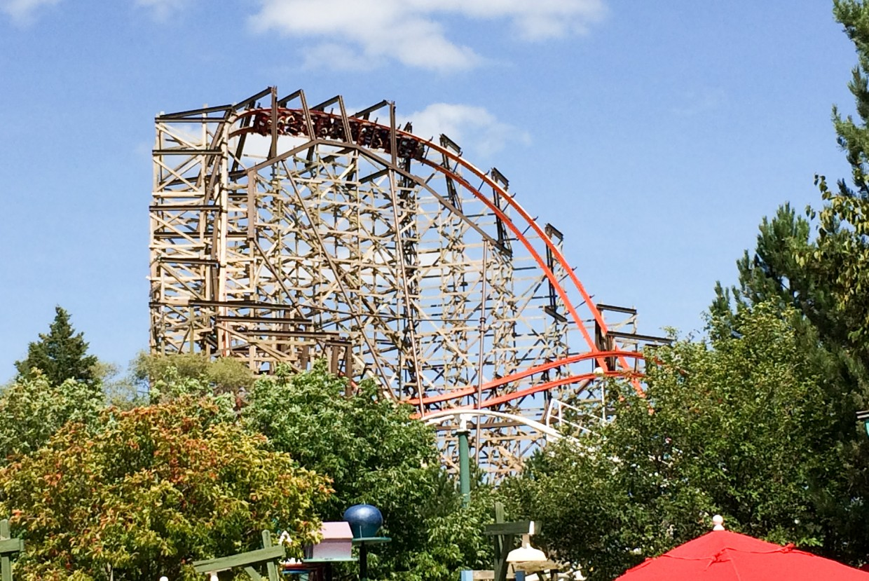 Goliath, probably the most impressive wooden coaster we've ridden.