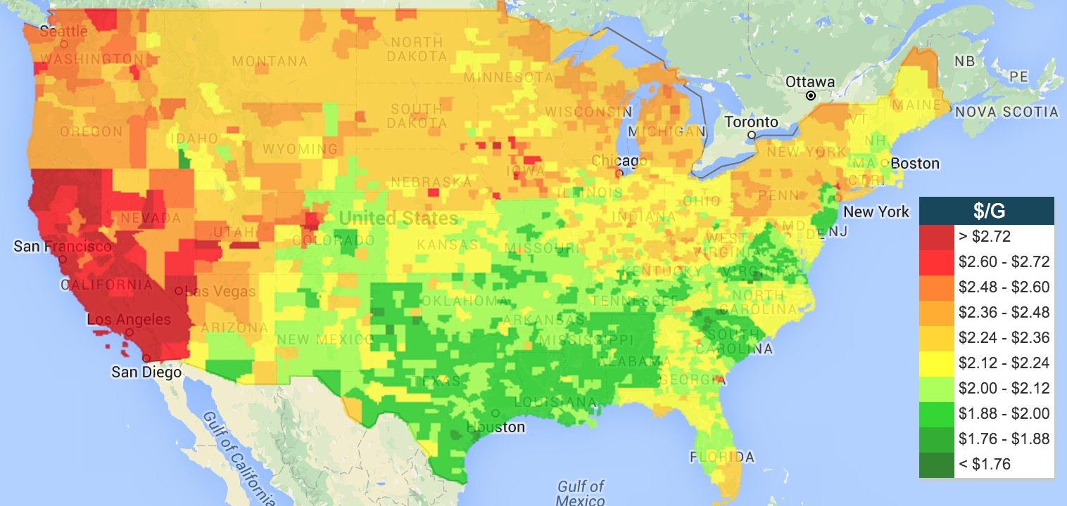Life Rebooted Maps For RVers - Gas prices us map