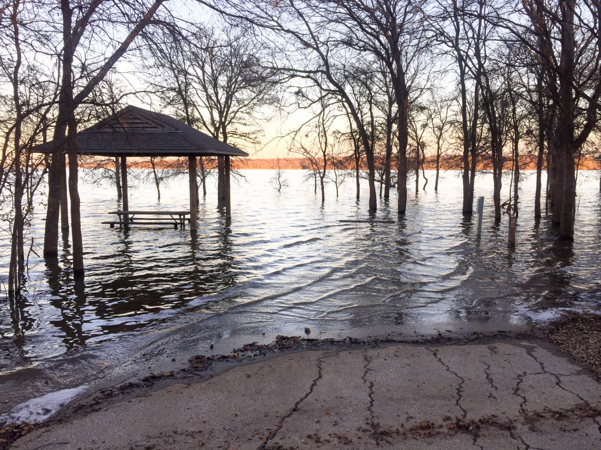 One of the many flooded campsites at Loyd Park.