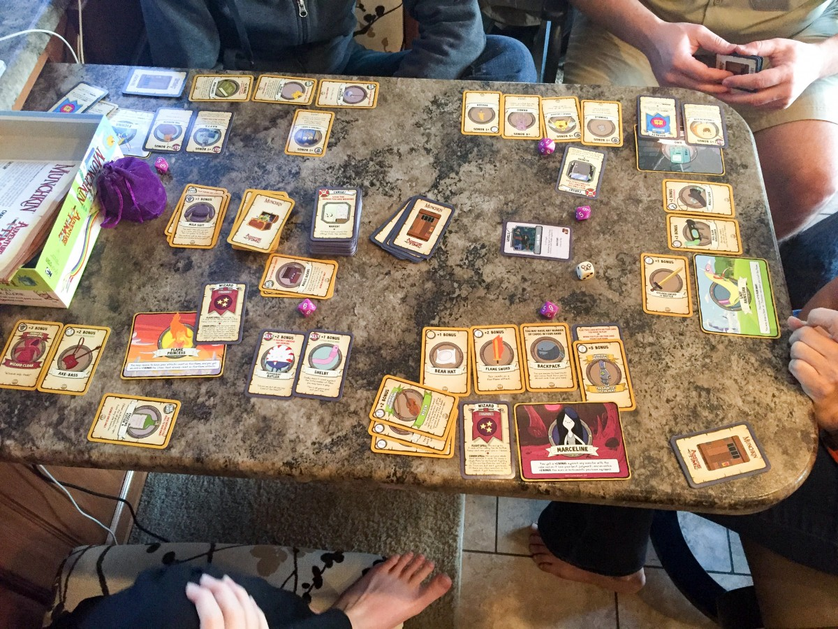 A friendly game of Munchkin with friends.