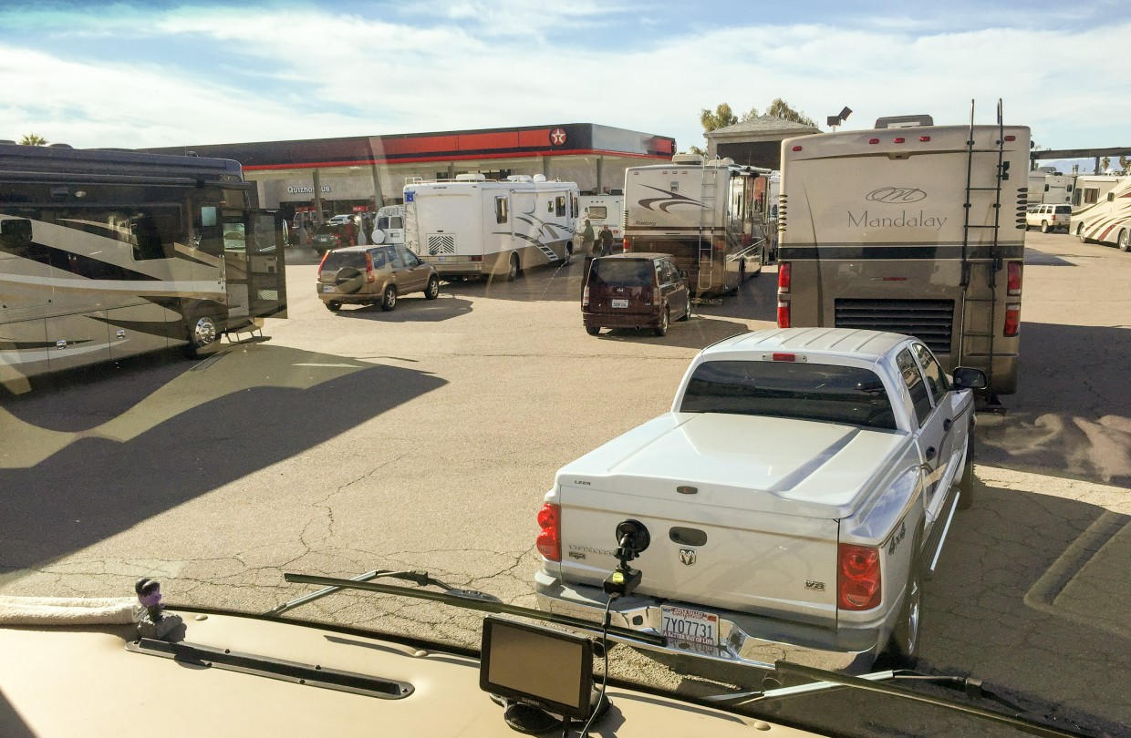 Stopping for gas near Quartzsite means a long line of RVs