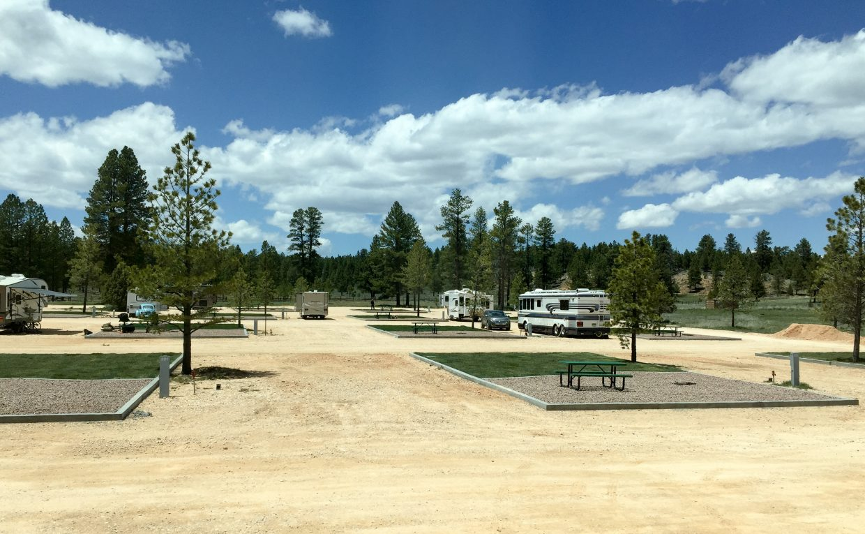 The huge sites at Ruby's Inn RV Campground.