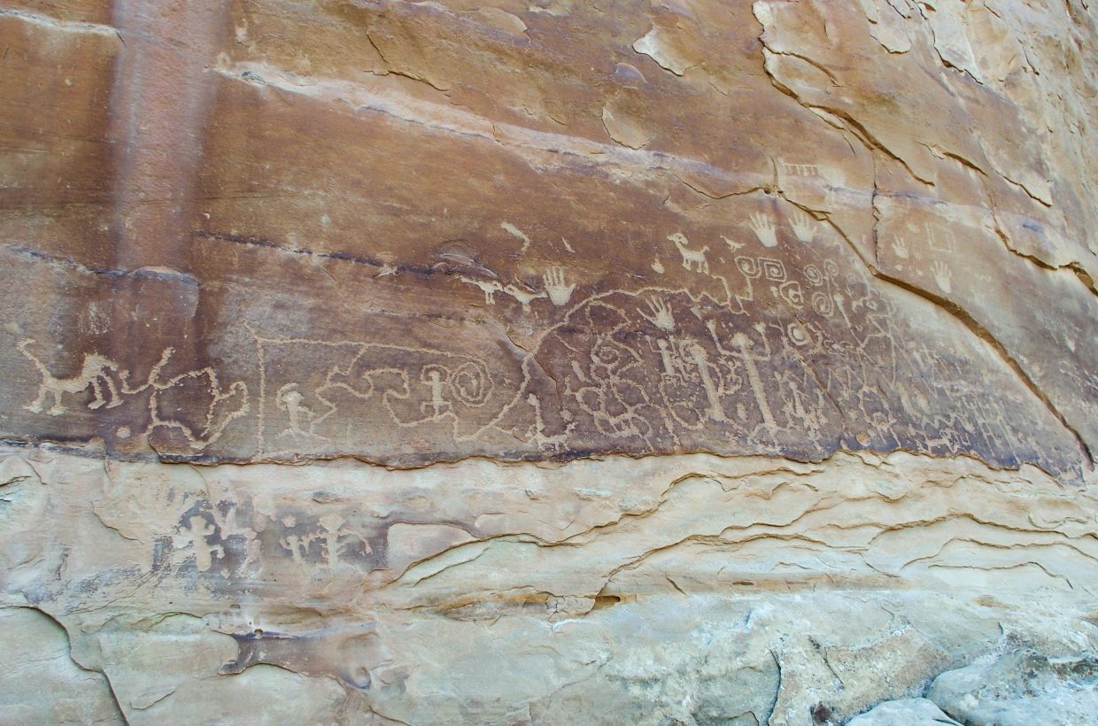 Wall of petroglyphs at Mesa Verde